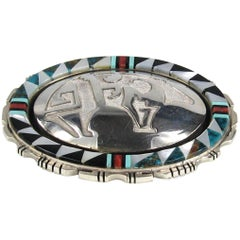 Zuni Sterling Silver Bear Inlaid with  Coral / Turquoise Brooch / Pendant