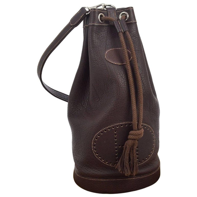 Hermes Dark Brown Leather Men's Drawstring Bucket Duffle Carryall Shoulder Bag