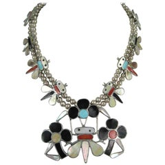 Zuni Sterling Silver Bumble Bee Squash Blossom Necklace 1975 Tanner Chaney