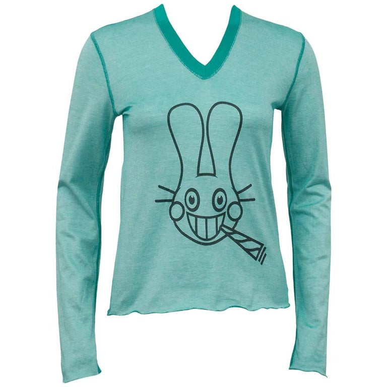 Lucien Pellat-Finet Spring Summer 2003 Teal Long Sleeve Shirt with Bunny
