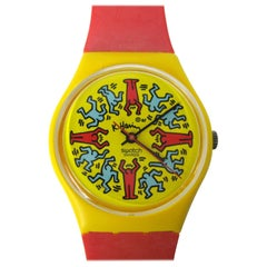 1985 Keith Haring Swatch Watch Modele Avec Personnages GZ100