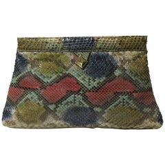 1970s Margolm Airbrushed Snakeskin Clutch