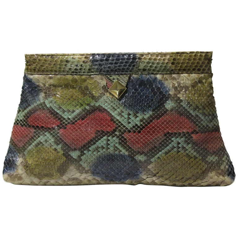 1970s Margolm Airbrushed Snakeskin Clutch For Sale