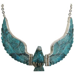 Navajo Sterling Silver Flying Turquoise Eagle Necklace Pendant Tribal