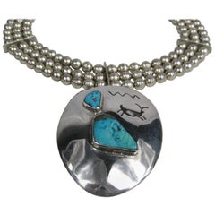 Massive Pawn 1960s Sterling Turquoise Beaded Necklace