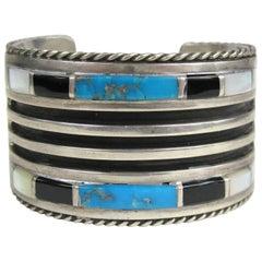 Native American Zuni Sterling Silver Turquoise Onyx Cuff Bracelet