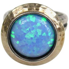 1980s Sterling & Hammered Gold Opal Bezel Ring