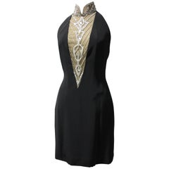 1980s Bob Mackie Little Black Mini Dress w Jeweled Halter Neckline and Low Back