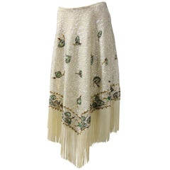 1960s Valentina Ltd. Iridescent Sequin & Beaded Wool Skirt W/ Cream Fringed Hem