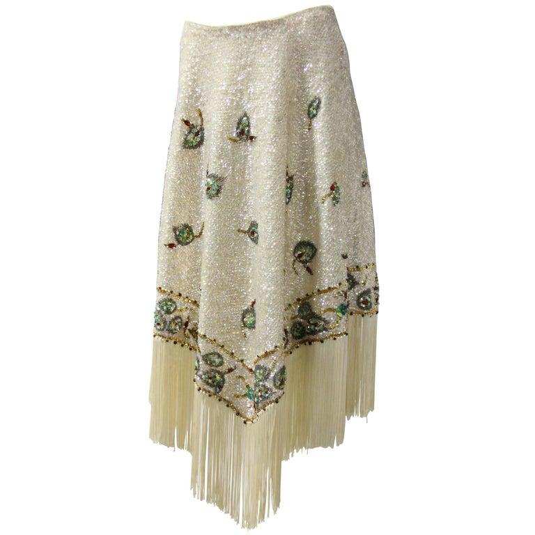 1960s Valentina Ltd. Iridescent Sequin & Beaded Wool Skirt W/ Cream Fringed Hem