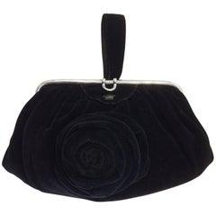 Art Deco Black Velvet Evening purse minaudiere