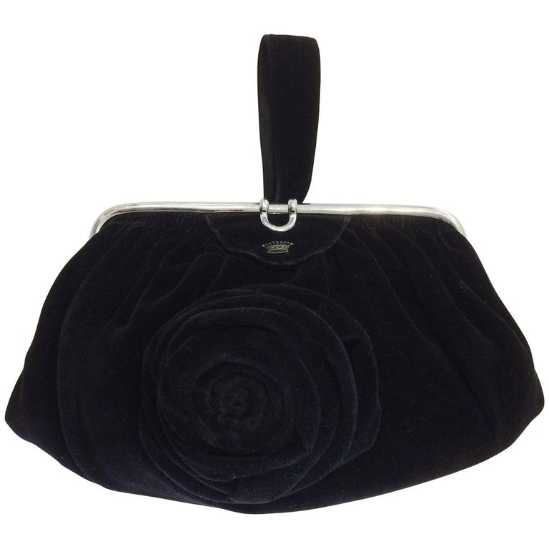 Art Deco Black Velvet Evening purse minaudiere