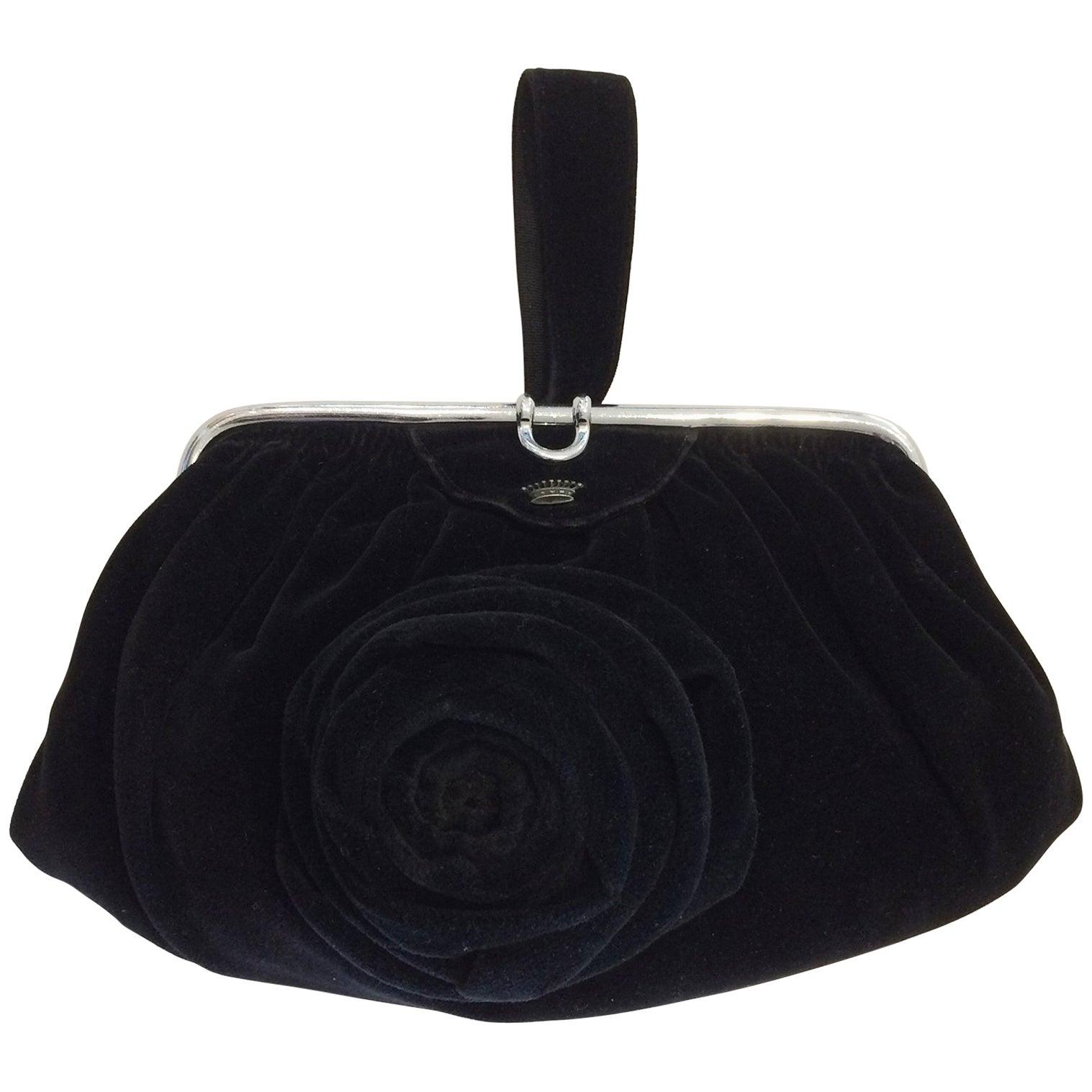 1stdibs Art Deco Black Velvet Evening Purse Minaudiere ygiuOBW