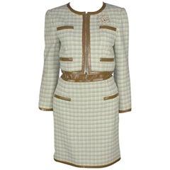 Chanel Corset Belt Skirt Jacket Suit Ensemble 3 Pieces