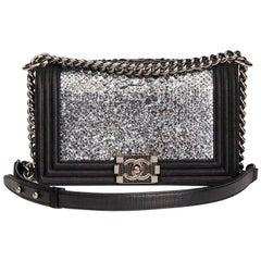 Chanel Silver Python Leather & Black Metallic Goatskin Medium Le Boy