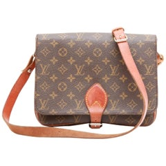 LOUIS VUITTON Messenger Bag in Brown Monogram Canvas and Natural Cowhide Leather