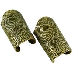 Yves Saint Laurent YSL Massive Runway Fingerprint Pair of Cuff Bracelets