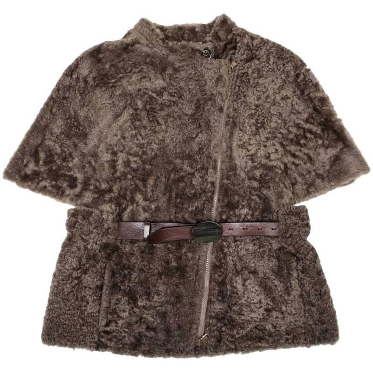 Brunello Cucinelli Vest Jacket in Brown Turned Sheep Size 42IT