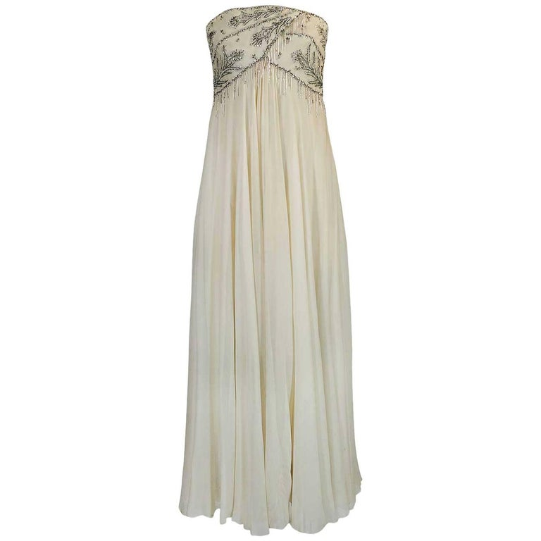 1970s Bob Mackie Beaded Strapless Ivory Silk Chiffon Dress