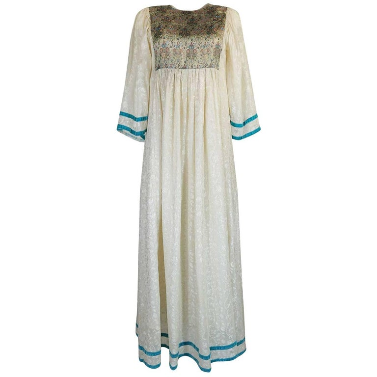 c1968 Thea Porter Embroidered Ivory & Brocade 'Faye' Dress