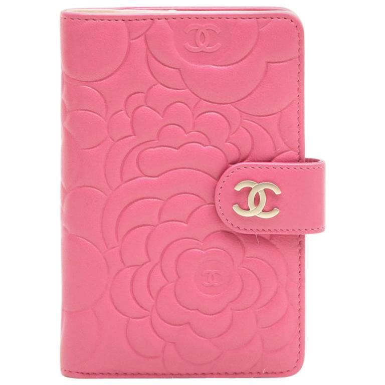 27e77ae9d0fe Chanel Wallet in Pink Embossed with Camellias and CC Leather at 1stdibs