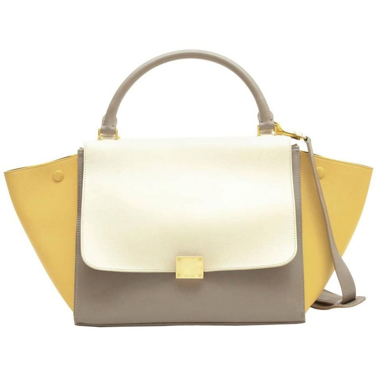"Celine ""Trapèze"" Bag in Tricolor Etoupe Yellow and White Leather"