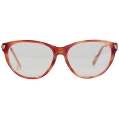CARTIER Paris VINTAGE Eyeglasses ECLAT JASPE Miel Dore Frame 51mm NOS