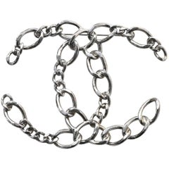 Chanel 2006 Silvertone Chain-Link Large CC Brooch Pin