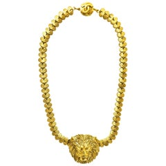 Chanel Vintage Goldtone Lion Head Choker Necklace