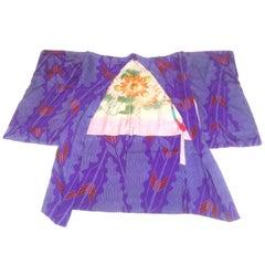 Japanese Exotic Silk Print Kimono Jacket, circa 1970