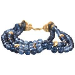Christian Dior Three Strand Blue Glass Beaded Bracelet