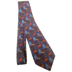 Hermes Paris Silk Bird Theme Necktie, circa 1990s