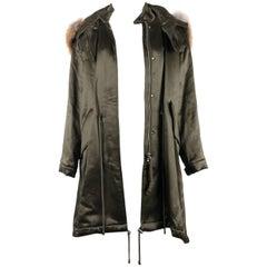 Alexander McQueen Woman's Green Satin Wool Blend Fox Fur Parka