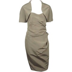 Carolina Herrera Khaki Silk Strapless Dress with Bolero - 10 - NWT