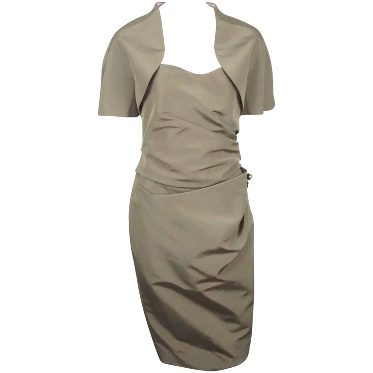 Carolina Herrera Khaki Silk Strapless Dress with Bolero - 10 - NWT