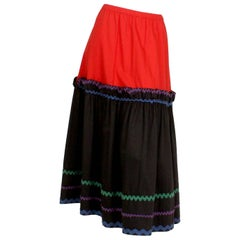 1970s Yves Saint Laurent Tiered Peasant Skirt