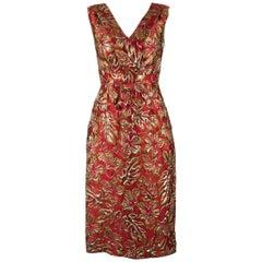 Prada Red Floral Gold Lurex Waist Bow Sleeveless Dress
