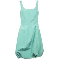 Oscar de la Renta Teal Silk Taffeta Sleeveless Poof Dress - 8
