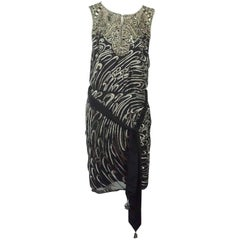 Escada Black Silk Heavily Silver Beaded Sleeveless Evening Dress - 36