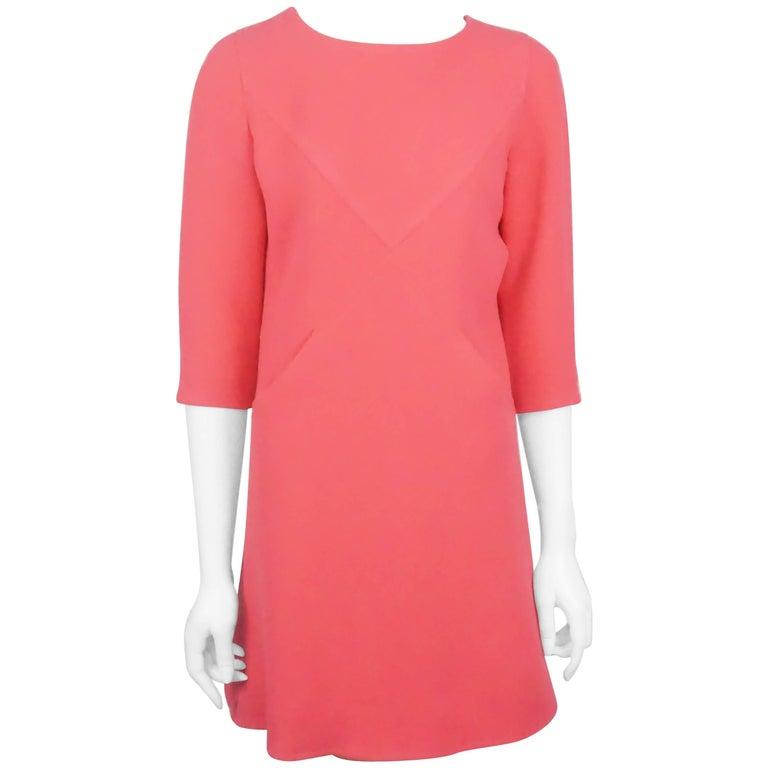 Courreges Magenta Wool Swing Dress - 8