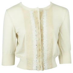 Oscar de La Renta Beige Cashmere 3/4 sleeve Beaded Sweater - M