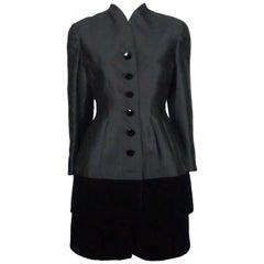 Valentino Black Silk and Velvet Dress with Coat - 10 - Circa 1980s