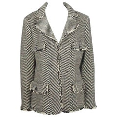 Chanel Black and Beige Wool Chevron Patterned Jacket - 44 - 06A