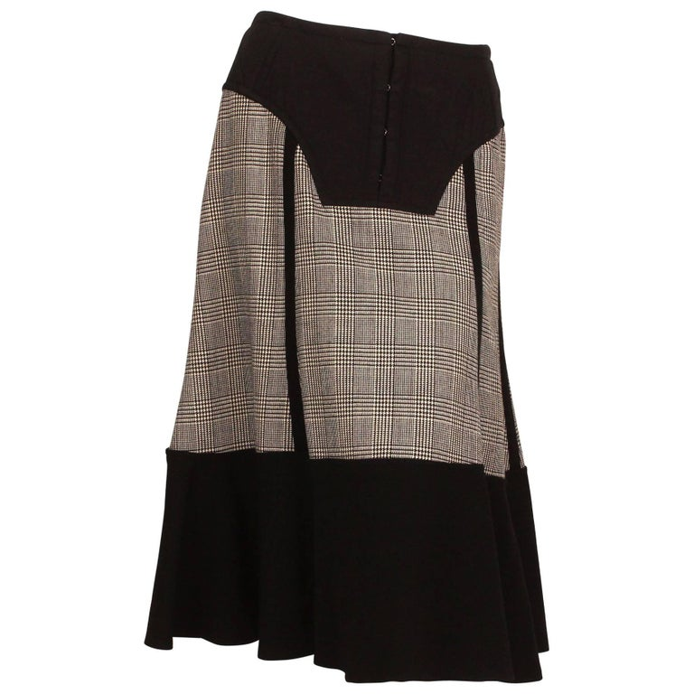 Comme des Garcons Wool Herringbone Skirt with Quilted Waist