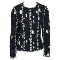 Chanel Navy and White Cotton Tweed and Mesh Cutout Jacket - 44