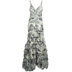 Carlos Miele Ivory and Dark Grey Print Silk Organza Gown - 42