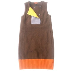 Missoni Italy Brown Wool Sleeveless Sheath Dress 21st Century