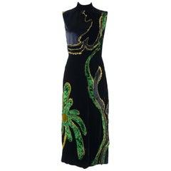 Prada Womens Black Floral Embroidered Velvet Sleeveless Dress
