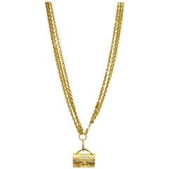 Chanel Vintage Goldtone Three-Strand Bag Charm Necklace
