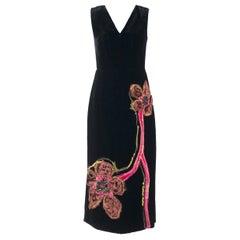 Prada Women Black Velvet Stitch Floral Embroidered Velvet Dress